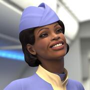 Light Skin Black Stewardess Rigged for Maya 3d model