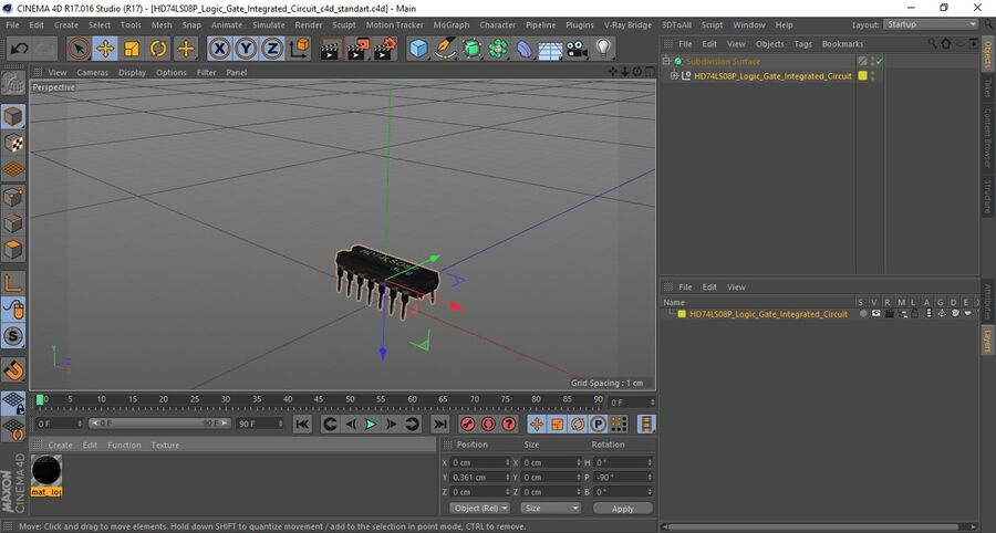 HD74LS08P Logic Gate Integrated Circuit royalty-free 3d model - Preview no. 17