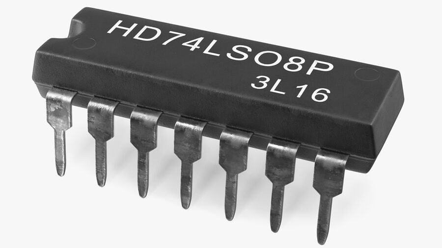 HD74LS08P Logic Gate Integrated Circuit royalty-free 3d model - Preview no. 2