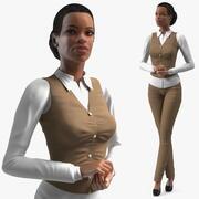 浅色皮肤商务风格女人站立姿势 3d model