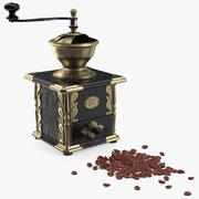 Antique Coffee Grinder with Coffee Beans 3d model