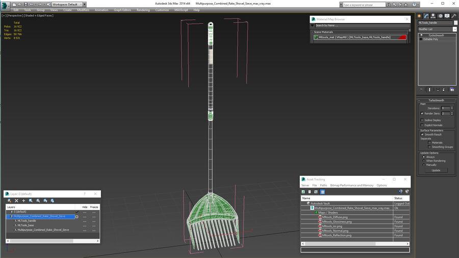 Multipurpose Combined Rake Shovel Sieve royalty-free 3d model - Preview no. 23