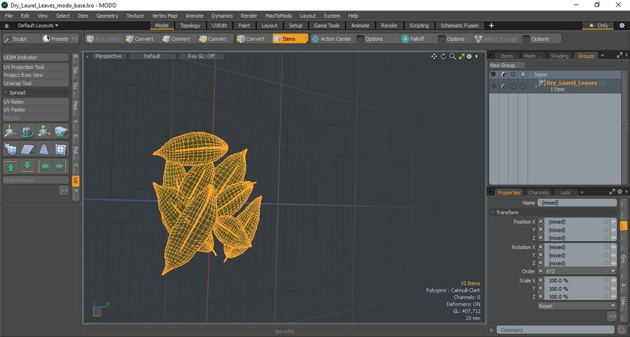 Dry Laurel Leaves royalty-free 3d model - Preview no. 17