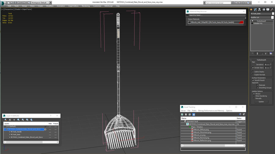 MLTOOLS Combined Rake Shovel and Sieve royalty-free 3d model - Preview no. 18