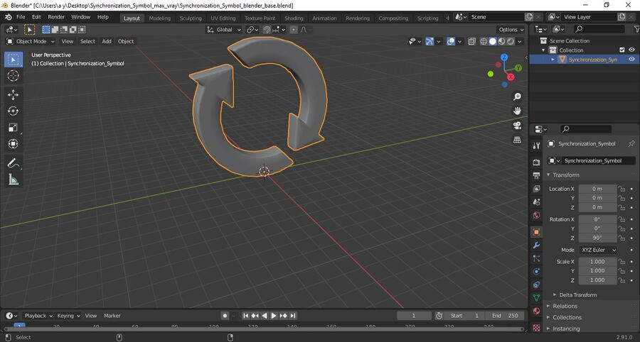 Synchronization Symbol royalty-free 3d model - Preview no. 15