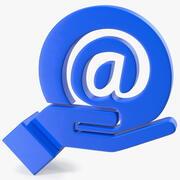 Icona di posta elettronica in mano 3d model