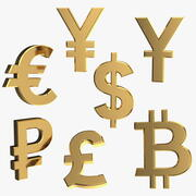 Currency Symbols Golden Set 3d model