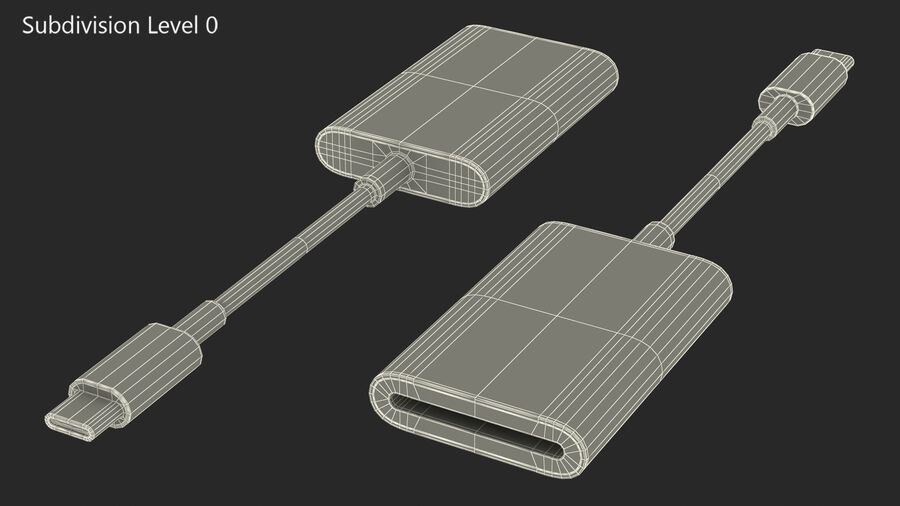 USB Type C to SD Card Reader royalty-free 3d model - Preview no. 18