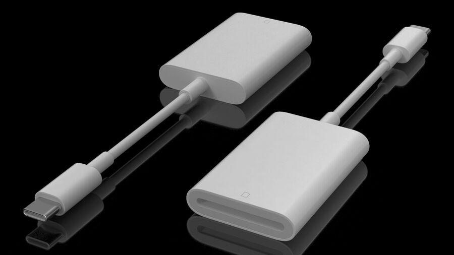 USB Type C to SD Card Reader royalty-free 3d model - Preview no. 3