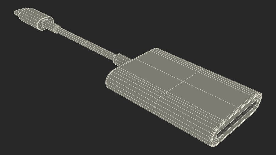 USB Type C to SD Card Reader royalty-free 3d model - Preview no. 28