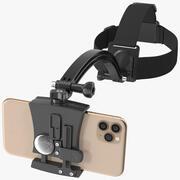 Supporto per smartphone con montaggio a testa e telefono 3d model