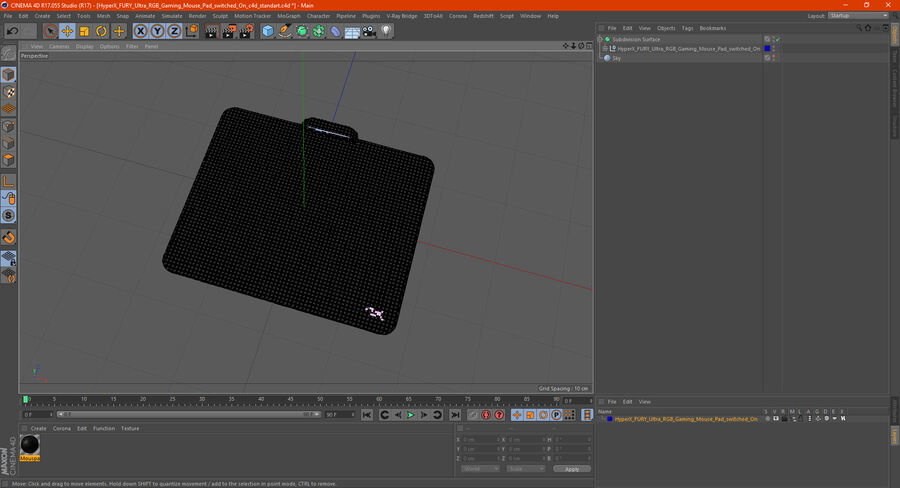 HyperX FURY Ultra RGB Gaming Mouse Pad switched On royalty-free 3d model - Preview no. 25