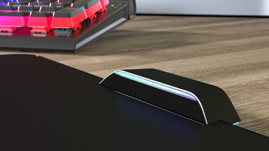 HyperX FURY Ultra RGB Gaming Mouse Pad switched On royalty-free 3d model - Preview no. 6