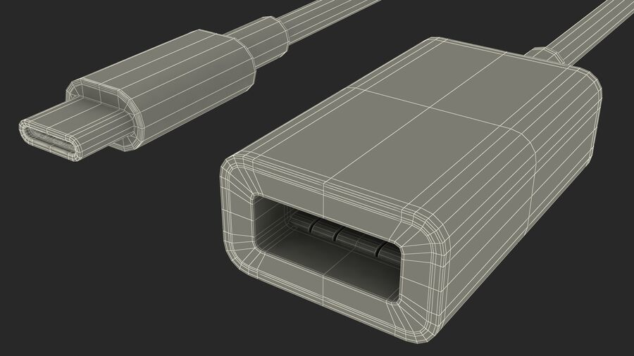 USB Type C to USB Type A Adapter royalty-free 3d model - Preview no. 28