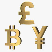 Golden Currency Symbols Collection 3d model