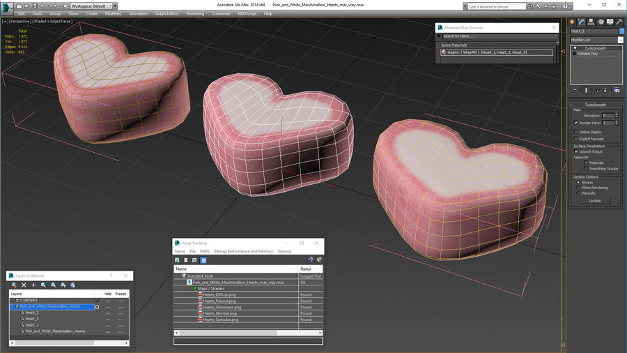 Pink and White Marshmallow Hearts royalty-free 3d model - Preview no. 19
