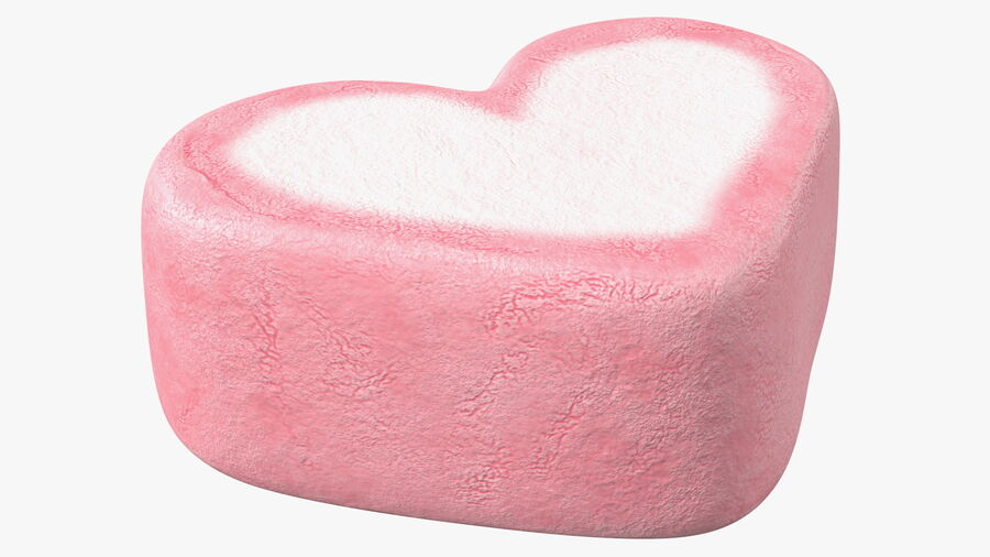 Pink and White Marshmallow Hearts royalty-free 3d model - Preview no. 11