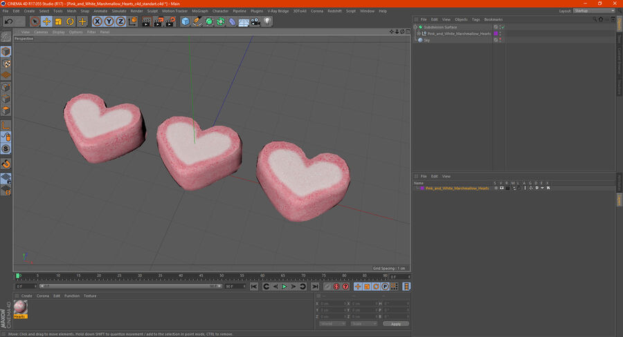 Pink and White Marshmallow Hearts royalty-free 3d model - Preview no. 20