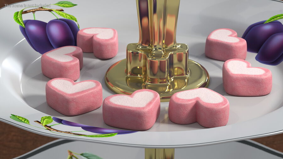 Pink and White Marshmallow Hearts royalty-free 3d model - Preview no. 3