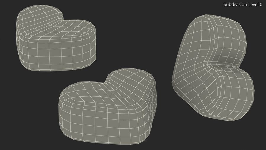 Pink and White Marshmallow Hearts royalty-free 3d model - Preview no. 15