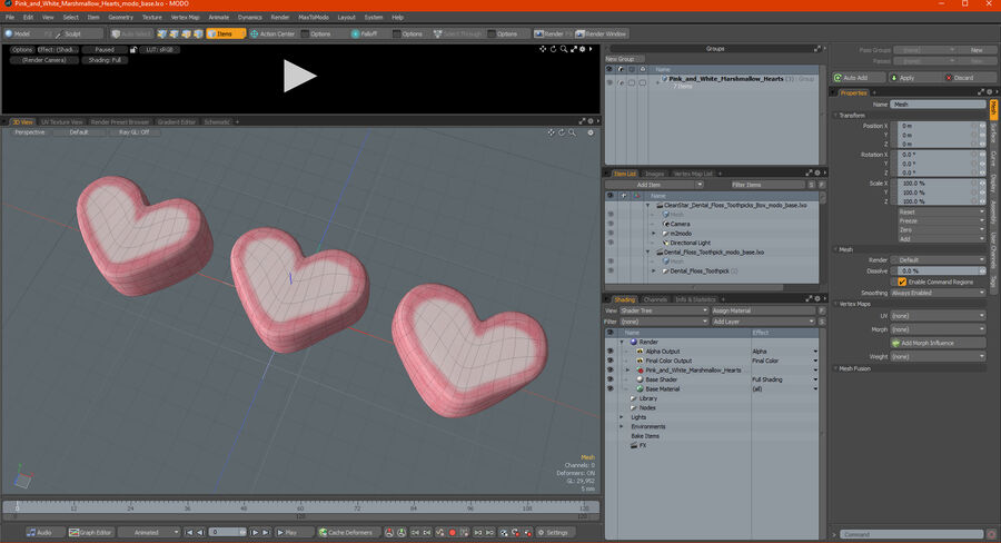 Pink and White Marshmallow Hearts royalty-free 3d model - Preview no. 23