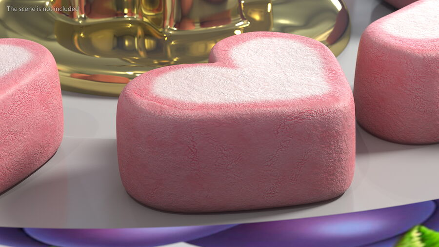 Pink and White Marshmallow Hearts royalty-free 3d model - Preview no. 4