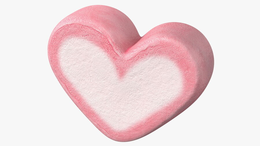 Pink and White Marshmallow Hearts royalty-free 3d model - Preview no. 12