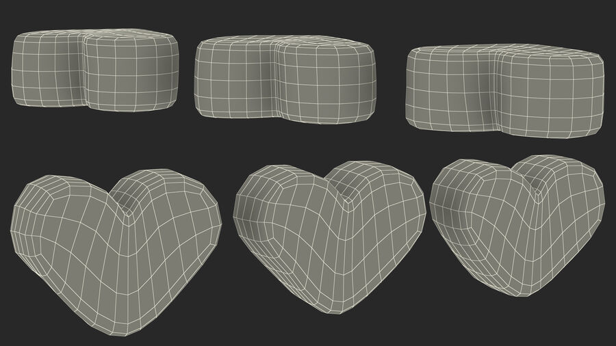 Pink and White Marshmallow Hearts royalty-free 3d model - Preview no. 24