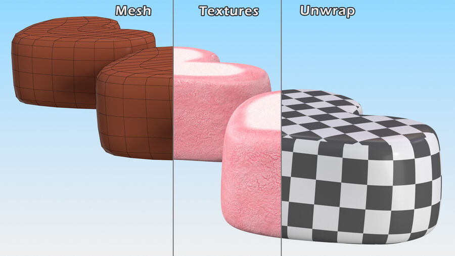 Pink and White Marshmallow Hearts royalty-free 3d model - Preview no. 14