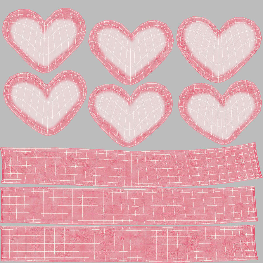 Pink and White Marshmallow Hearts royalty-free 3d model - Preview no. 17
