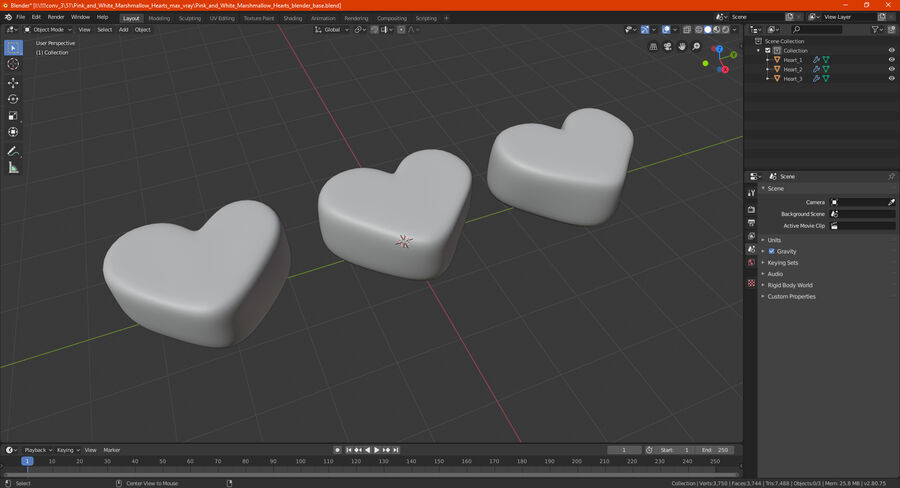 Pink and White Marshmallow Hearts royalty-free 3d model - Preview no. 22
