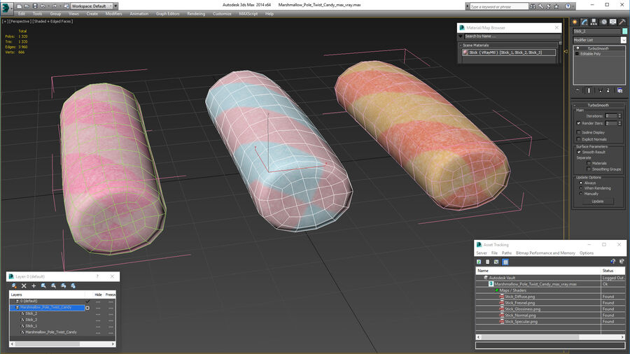 Marshmallow Pole Twist Candy royalty-free 3d model - Preview no. 20