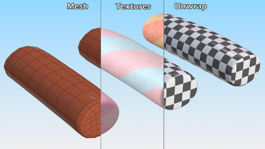 Marshmallow Pole Twist Candy royalty-free 3d model - Preview no. 15