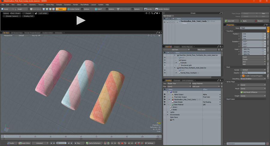 Marshmallow Pole Twist Candy royalty-free 3d model - Preview no. 24