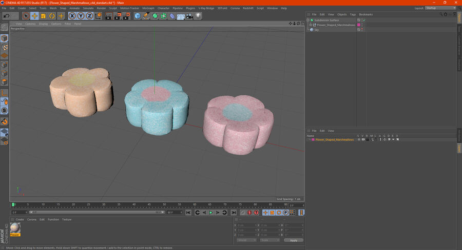 Flower Shaped Marshmallows royalty-free 3d model - Preview no. 20
