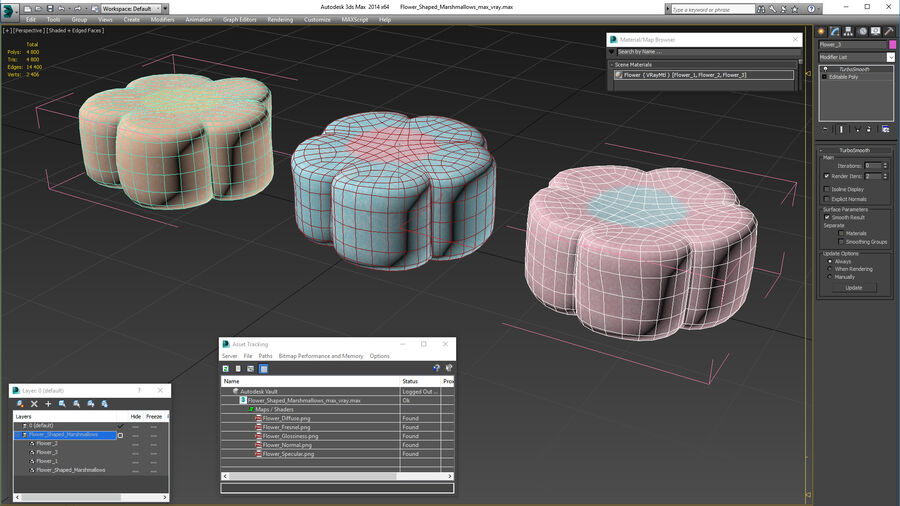 Flower Shaped Marshmallows royalty-free 3d model - Preview no. 19