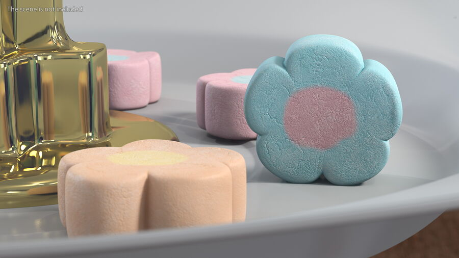 Flower Shaped Marshmallows royalty-free 3d model - Preview no. 4