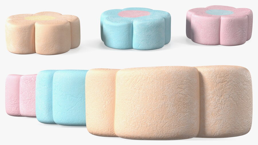 Flower Shaped Marshmallows royalty-free 3d model - Preview no. 8