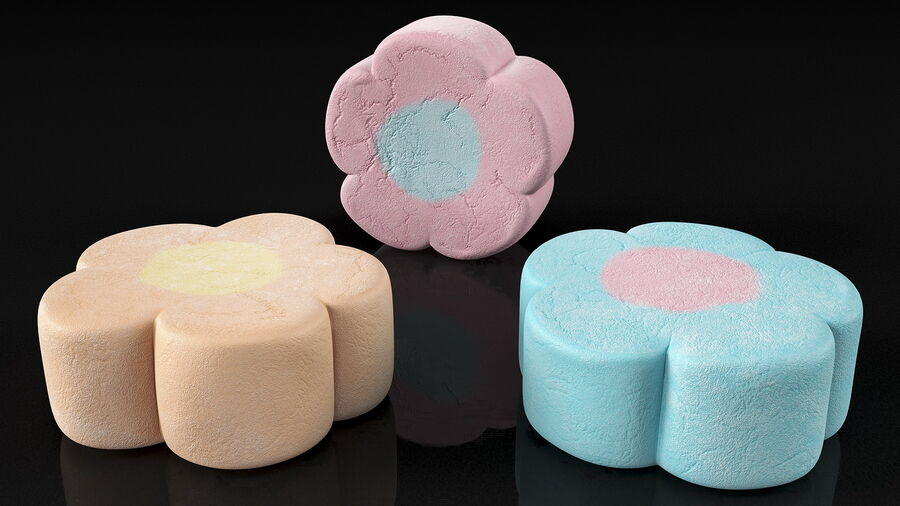 Flower Shaped Marshmallows royalty-free 3d model - Preview no. 7