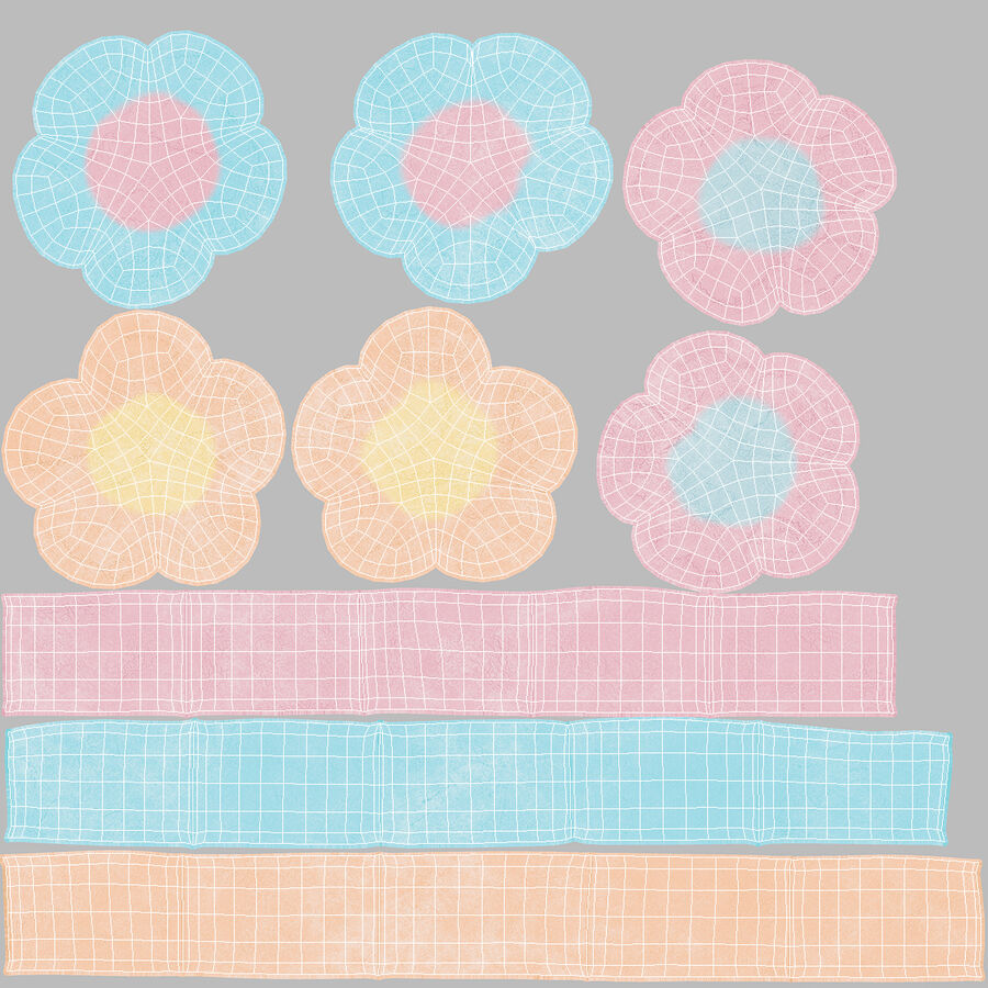 Flower Shaped Marshmallows royalty-free 3d model - Preview no. 17
