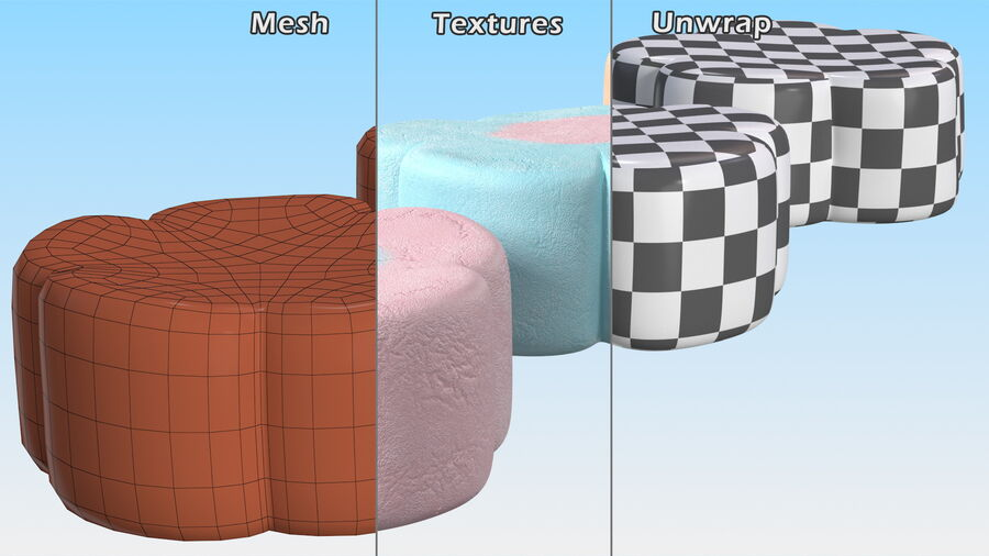 Flower Shaped Marshmallows royalty-free 3d model - Preview no. 14