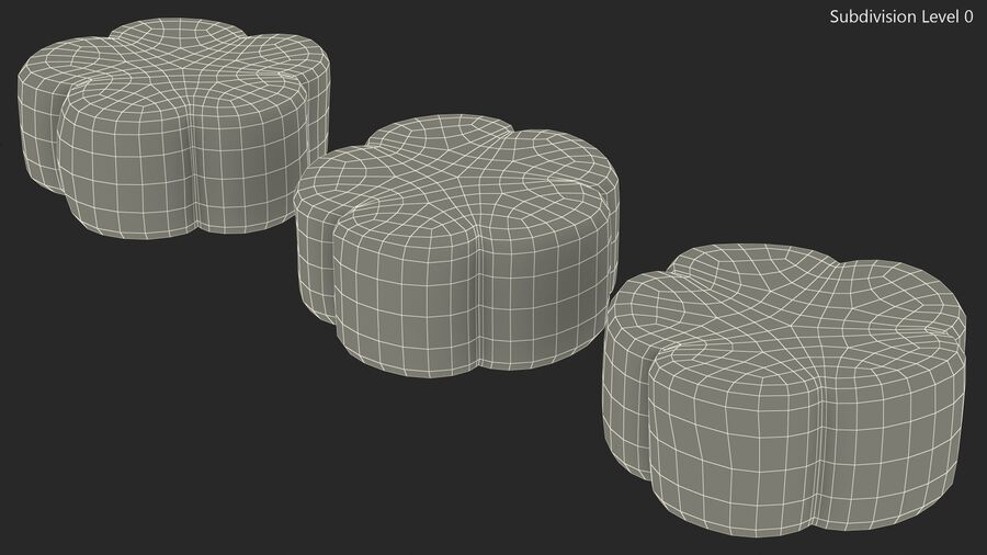 Flower Shaped Marshmallows royalty-free 3d model - Preview no. 15