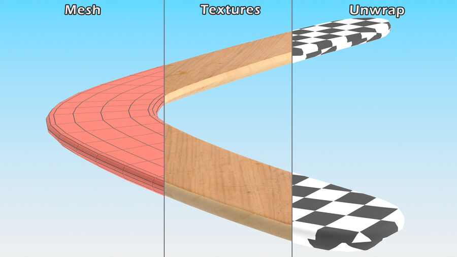 Heavy Wooden Boomerang royalty-free 3d model - Preview no. 10
