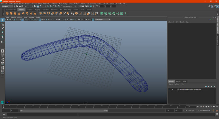 Heavy Wooden Boomerang royalty-free 3d model - Preview no. 17