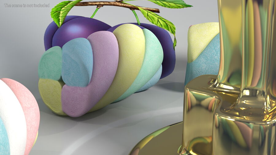 Multi Colored Marshmallow Twists royalty-free 3d model - Preview no. 6
