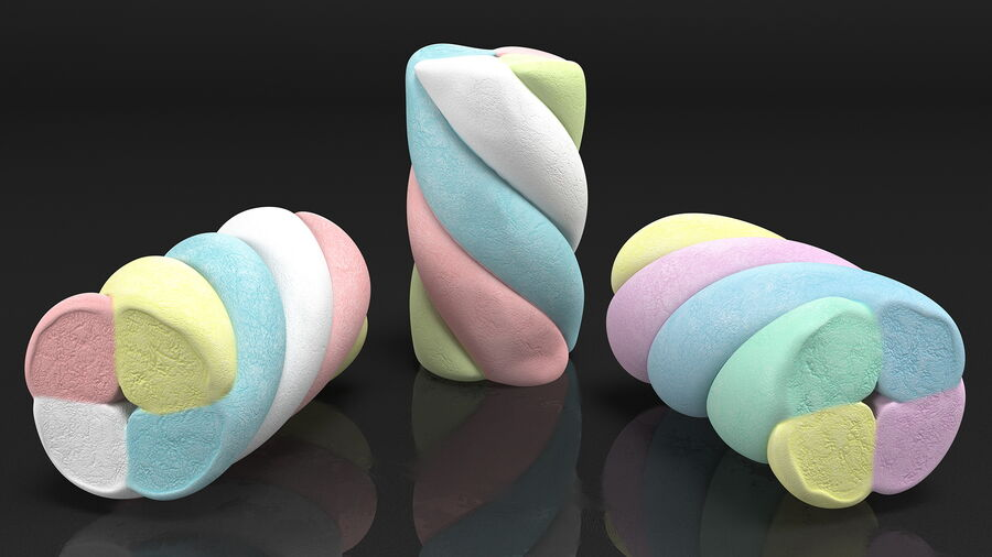 Multi Colored Marshmallow Twists royalty-free 3d model - Preview no. 7