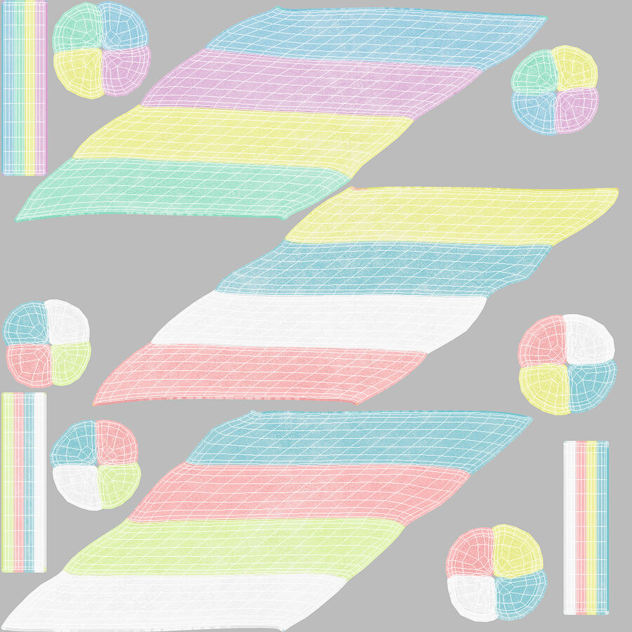 Multi Colored Marshmallow Twists royalty-free 3d model - Preview no. 18