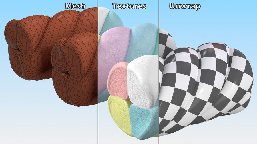 Multi Colored Marshmallow Twists royalty-free 3d model - Preview no. 15