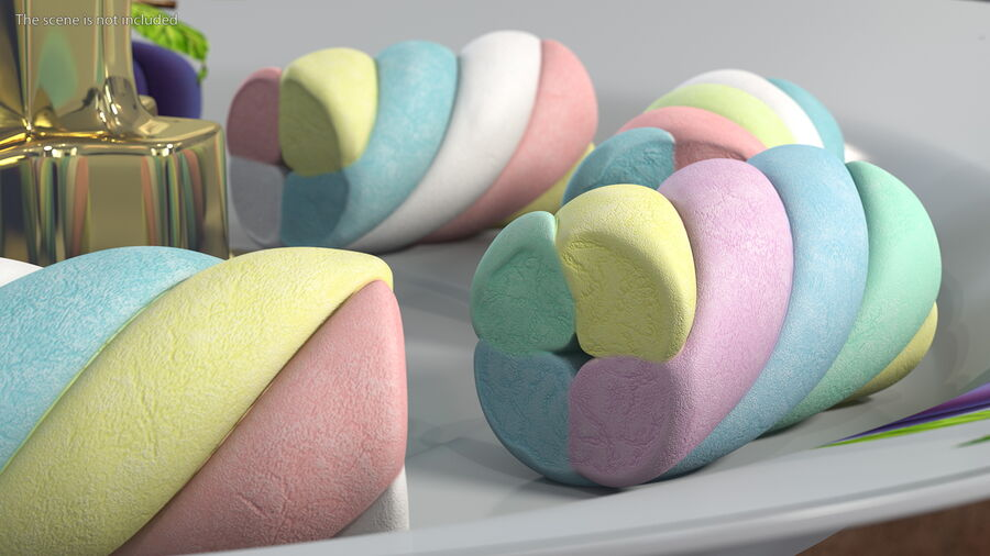 Multi Colored Marshmallow Twists royalty-free 3d model - Preview no. 4