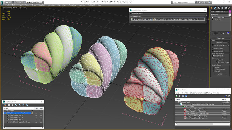 Multi Colored Marshmallow Twists royalty-free 3d model - Preview no. 20